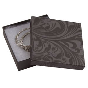 Jewelry Boxes 100 Black Gray 3 1 2 X 3 1 2 X 1 Lid Lidded Cotton Filled 33