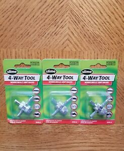Slime 4 Way Tire Valve Stem Core Tool Removal Insertion Tap 3 Packages