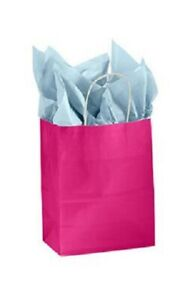 Paper Shopping Bags 100 Glossy Cerise Red Pink Merchandise 8 X 4 X 10 H