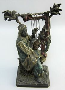 Rare Franz Bergman Cold Painted Bronze Moor Playing Lyre On Crate Austria Signed