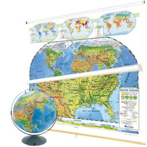 Nystrom U S And World Map Early Learning Land Cover Classroom Pack With Globe