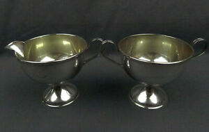 El Sil Co Sterling Silver Sugar Creamer Set Cement Filled Base
