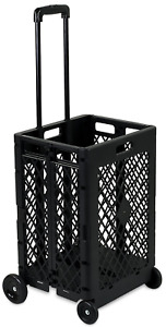 4 Wheels Mesh Rolling Utility Cart Folding And Collapsible Hand Crate 55 Lbs Ca