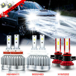 For Chevy Silverado 1500 2500 3500 2007 2015 6000k Led Headlight Fog Light Bulbs