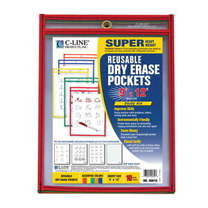 C line Dry Erase Reusable Pockets Assorted Colors 9 X 12 Inches Pack Of 25