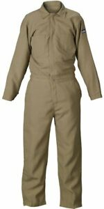 Lakeland 4 5 Oz Flame Resistant Nomex Coverall Open Cuff 42 Chest Khaki