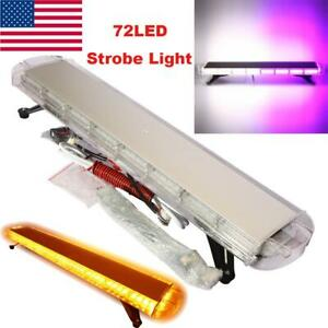 38 72led Light Bar Tow Truck Emergency Beacon Warning Plow Strobe Amber Yellow