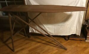 Vintage Antique Wood Ironing Board Table 47 X15 Folding Wood Legs Mid Century