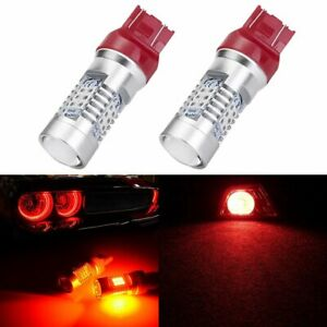 2x Cree 7443 7440 High Power Red 21 Smd Cob Led Brake Stop Taillight Bulb 2000lm