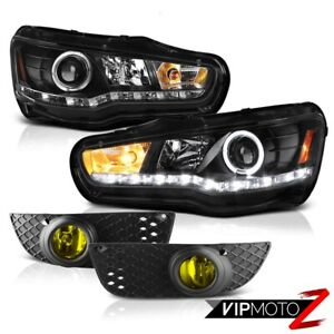 2008 2012 Mitsubishi Lancer Black Projector Headlights Yellow Driving Fog Lamps