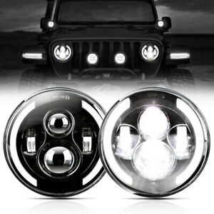 2x 7 Inch 600w Led Headlight Hi lo Beam Halo Drl For Jeep Freightliner Century