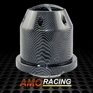 Plastic 3 High Flow Heat Shield Air Filter Cold Intake Round Cone Carbon Fiber