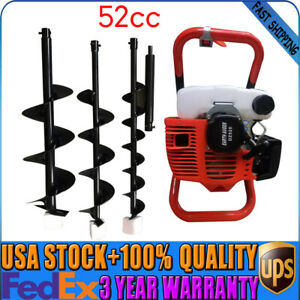 52cc 2 Stroke Gas Powered Engine Post Hole Digger Earth Auger Drill 3 Bits New