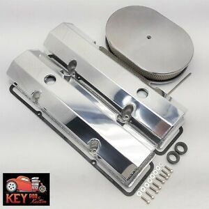 Small Block Chevy Polished Fabricated Aluminum Valve Covers Sbc 305 327 350 400