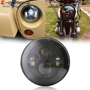 Dot Approved 7 Round Led Projector Black Headlight High Low Sealed Beam 1pc