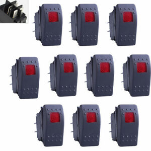 10x Waterproof Marine Boat Car Rocker Switch 12v On off 4pin Red Led Light Us