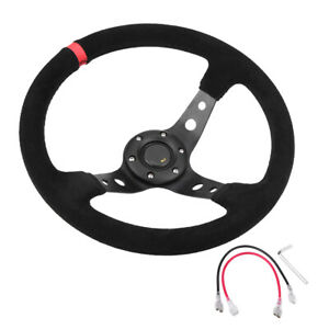 Universal 35cm 14inch 6 bolts Auto Car Racing Steering Wheel With Horn Red Wt