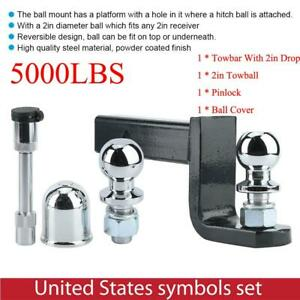Adjustable Height Towbar Tow Bar Hitch 2inch Ball Mount Tongue Trailer 5000lbs