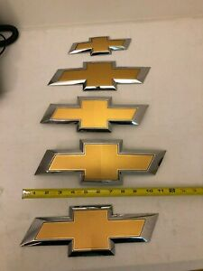 Lot Of 5x Gold Chevy Chevrolet Bowtie Emblems Oem