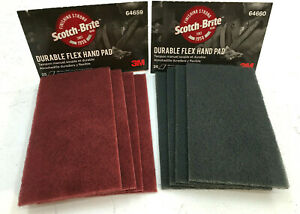 3m 64659 64660 Scotch Brite Durable Flex Hand Sanding Pads 4 Of Each Red Gray