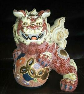 Antique Vintage Porcelain Japanese Signed Kutani Foo Dog Lion Shi Statue