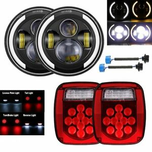 7 Inch Led Headlights Halo Angle Eye Tail Brake Lights For Jeep Wrangler Cj Tj