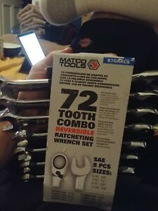 Matco Tools 8 Piece Ratcheting Wrench Set Sae S7grrc8 New