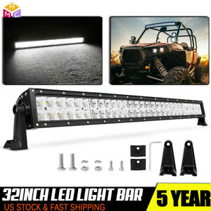 32inch 180w Curved Led Work Light Bar Combo Boat For Jeep Offroad Lamp Pk 30 34