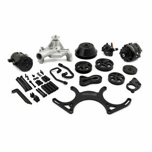 Sbc Black Anodized Chevy Serpentine Pulley Kit W blk A c Alternator P s Xo18 K2