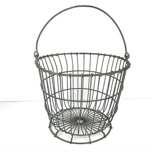 Vintage Wire Metal Egg Basket Gathering Clam Oyster 10 75x13 5 Farmhouse Decor