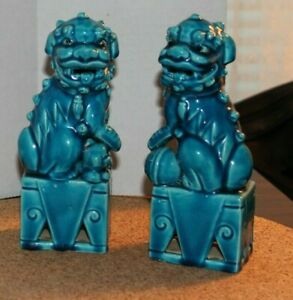 Pair Of Turquoise Glazed Ceramic Foo Dogs Approx 6 1 4 Tall