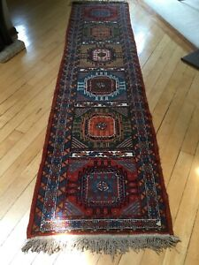 Old Tribel Geometric Hand Made Wool Runner 9 9 Long Antique Persian Rug 2