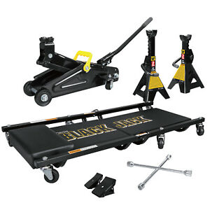 2 Ton Jack Kit With Jack 2 Jack Stands Folding Creeper Lug Wrench And Chocks