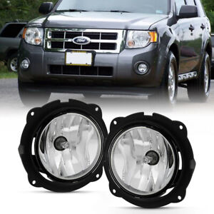 L R Side Chrome Clear Fog Light Front Bumper Driving Lamp For 07 12 Ford Escape