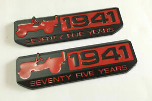 New 2pcs Red And Black 1941 75th Anniversary Badge Emblem Stickers