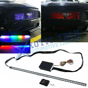 24 Rgb Led Scanner Strip Lights Rider Knight For Ford Mustang 15 19 Under Hood
