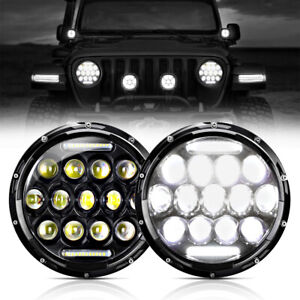 2x Dot 600w 7 Inch Round Led Halo Headlight Hi lo Drl For Jeep Wrangler Jk Tj Cj