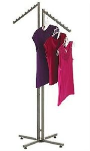 Clothes Rack Two Way 2 Slant Arm Arms Clothing Garment Display Steel 72