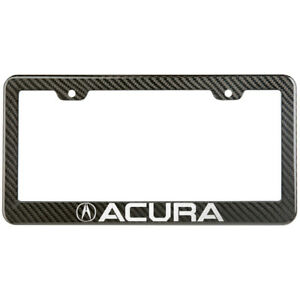 Acura License Plate Frame Carbon Fiber Look Style Glossy Plastic