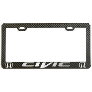 Honda Civic License Plate Frame Carbon Fiber Look Style Glossy Plastic