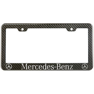 Mercedes Benz License Plate Frame Carbon Fiber Look Style Glossy Plastic