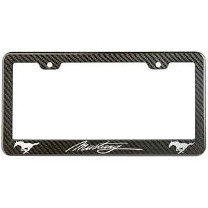 Ford Mustang License Plate Frame Carbon Fiber Look Style Glossy Plastic