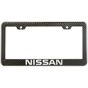 Nissan License Plate Frame Carbon Fiber Look Style Glossy Plastic