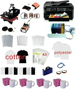 8in1 15x15 Pro Sublimation Heat Press Epson 7710 11 x17 Printer Ciss Kit