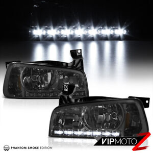 2006 2010 Dodge Charger Smoke Led Drl Tinted Front Headlight Corner Signal Lamps