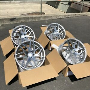 18x9 30 Aodhan Ls008 5x100 Silver Machined Face Wheels Rims Used Set