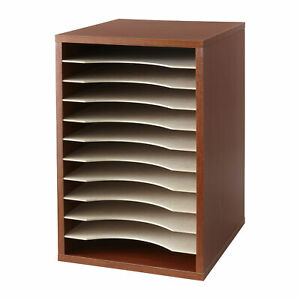 Safco Adjustable Vertical Wood Shelf Organizer 11 Compartment s Compartment