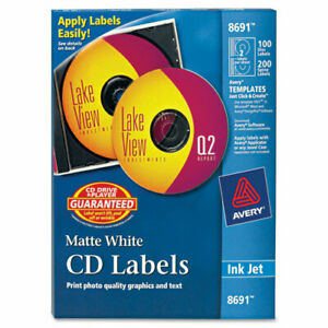 Avery Cd Labels Permanent Adhesive Length Circle Inkjet White 2