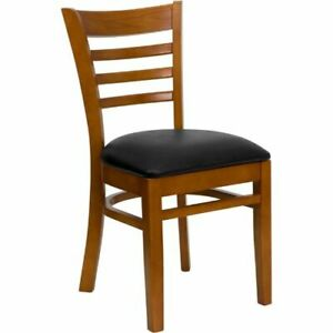 Hercules Series Cherry Finished Ladder Back Wooden Restaurant Chair Black