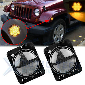 Led Turn Signal Side Fender Marker Lights Smoke Lens For Jeep Wrangler Jk 07 18